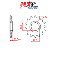 MTX Front Sprocket 11T for Suzuki DF200E TROJAN AGI 1995-2003 10-143-11