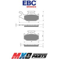 EBC Right Side Brake Pads Can-Am Renegade 800 4WD 2007-2011 FA414R