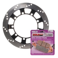 Brake Disc and Pad Kit Front Kawasaki KLR650 2005-2007 Solid